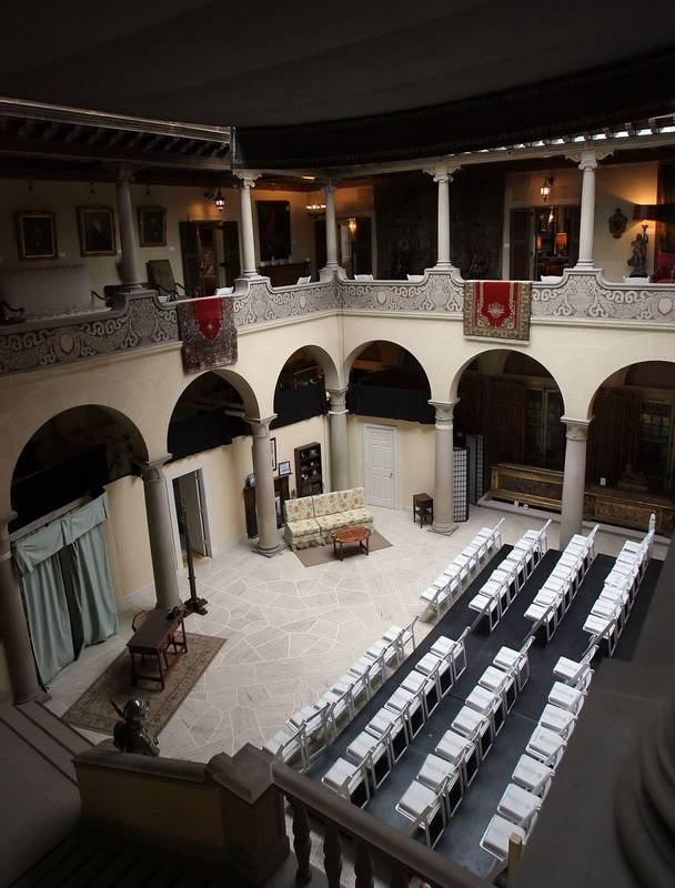 The great hall of the Cuneo Mansion in Vernon Hills presents a grand entrance.