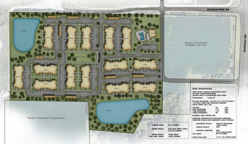 A 280-unit apartment community developed by Wisconsin-based HSI Properties is proposed for a 25-acre lot near Randall Road and Recreation Drive.