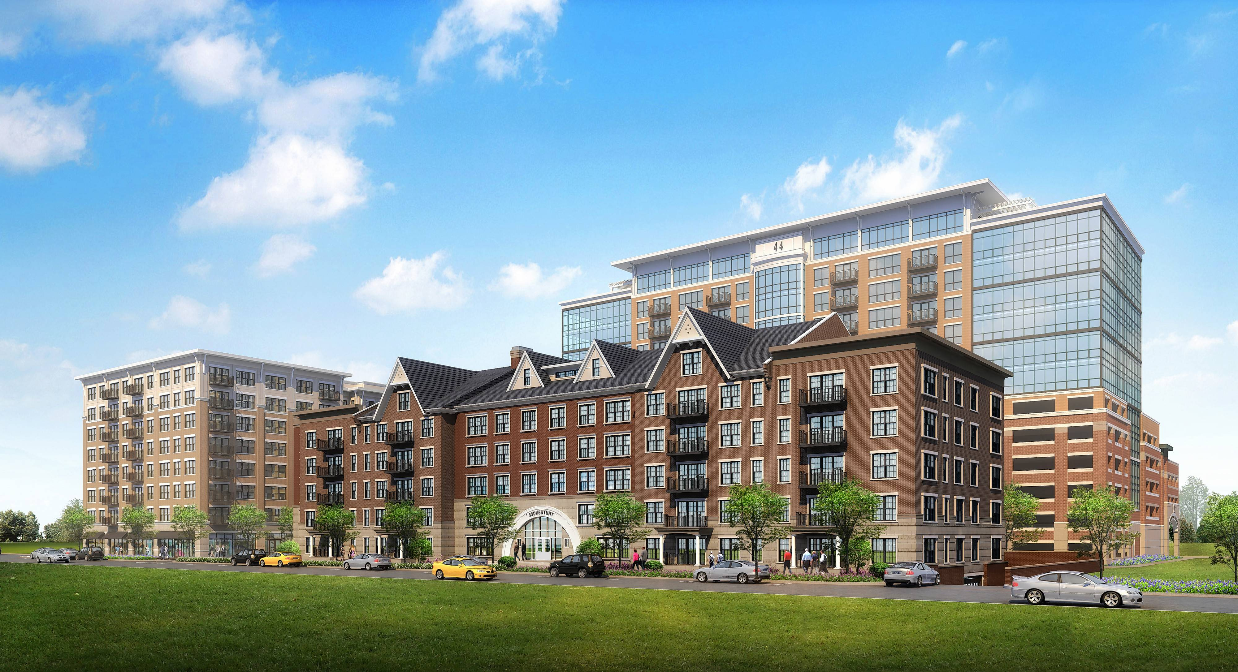 A sketch shows the proposed Arlington 425 development of three buildings featuring a mix of apartments, retail and dining on three quarters of a vacant block in downtown Arlington Heights.