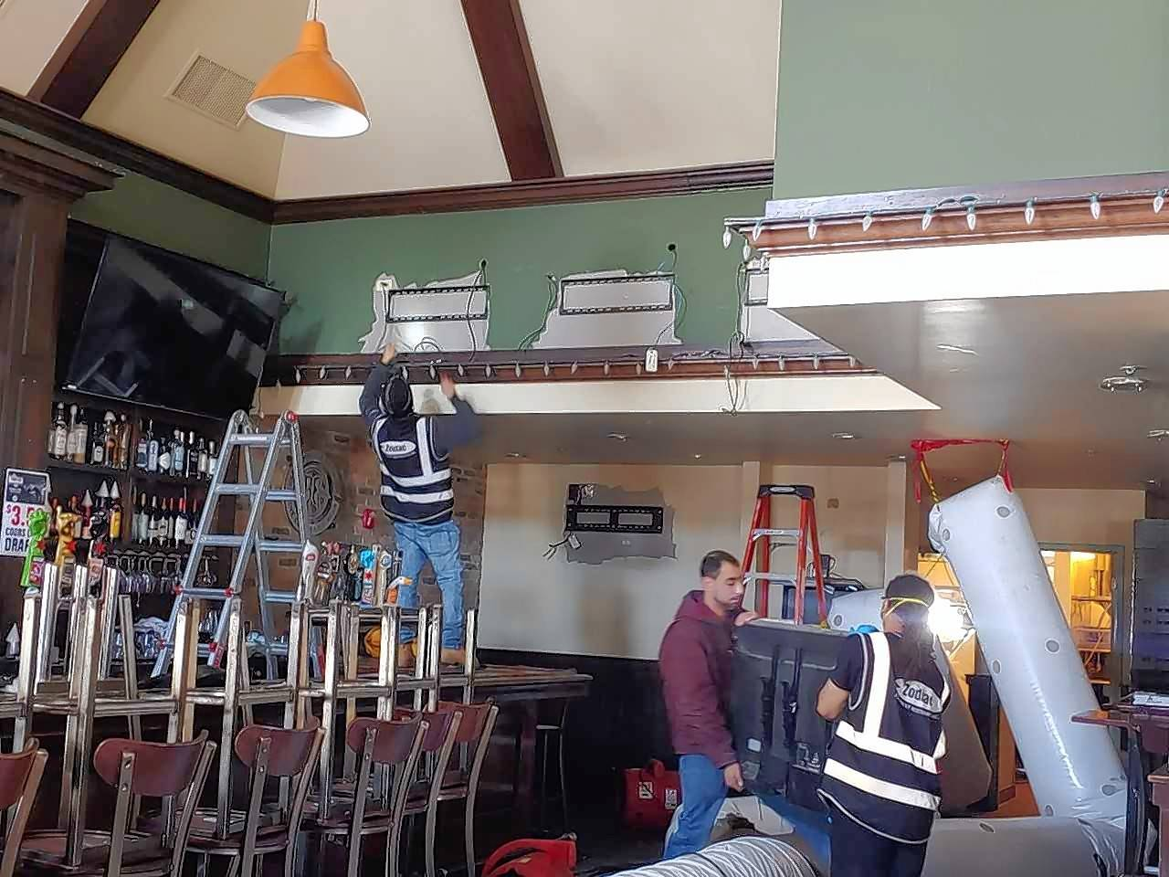 Work is ongoing inside Durty Nellie's in downtown Palatine as it recovers from a fire that's left the popular bar and music venue closed since Jan. 25. Owners hope to have most operations up and running within the month.
