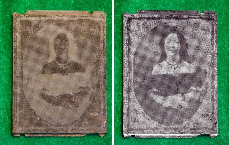 A metallic negative of a well-dressed, 19th century woman, left, was excavated by the author while relic hunting in Centreville in 1992. It was recently converted to a positive image, right.