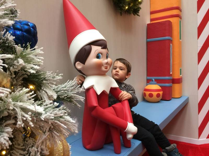 Ethan Hanrahan, 3, of Volo visits Thursday with the Elf on the Shelf on display at Hawthorn Mall in Vernon Hills.
